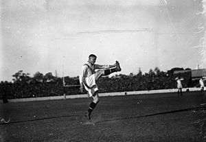 Field goal (rugby) - Jim Sullivan kicking for England, in a rugby league match against Australia in 1933.