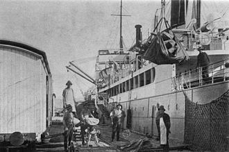 Port of Townsville - Frozen meat being loaded, 1929