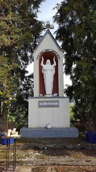 Statue réalisée par le sculpteur Dumas de Lyon, mesure 1,90m et pèse 600 kg. Inaugurée le 15 aout 1958