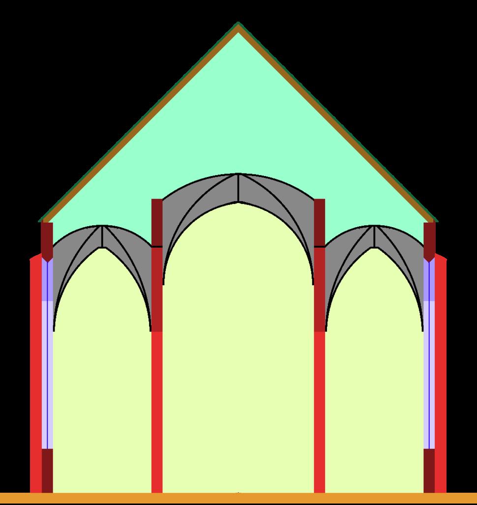 Stepped hall church