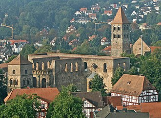Bad Hersfeld - View of the monastery ruins from the tower of the town church