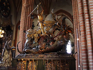 Ingeborg Tott - Saint George and the Dragon by Bernt Notke in Storkyrkan in Stockholm. The face of the princess is believed to bear the face of Ingeborg Tott.