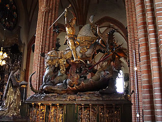 Dano-Swedish War (1470–71) - Saint George and the Dragon by Bernt Notke, in Stockholm's Storkyrkan, commemorating Sture's victory at the Battle of Brunkeberg.