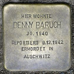 Photo of Denny Baruch brass plaque