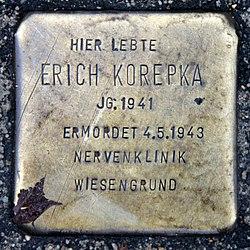 Photo of Erich Korepka brass plaque