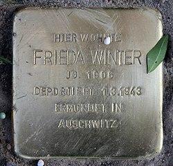 Photo of Frieda Winter brass plaque