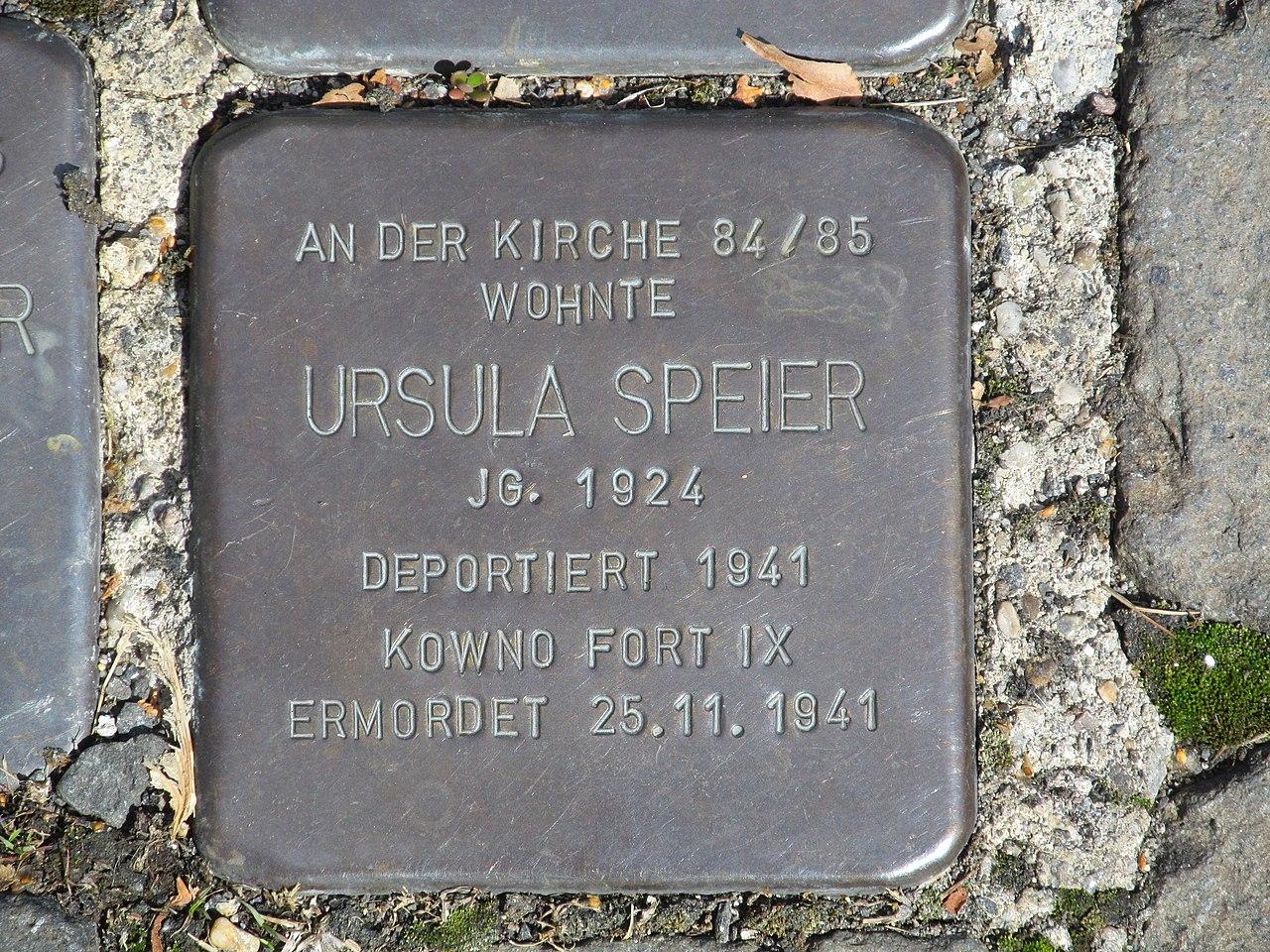 Stolperstein Ursula Speier, 1, Bahnhofstraße 110, Borken, Schwalm-Eder-Kreis.jpg