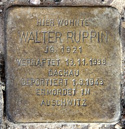 Photo of Walter Ruppin brass plaque
