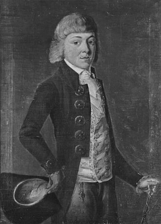Friedrich Accum - Friedrich Accum in his youth. Black and white reproduction of an oil painting by Accum's brother-in-law Wilhelm Strack.