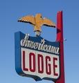 Street sign for the Americana Lodge motel in Redding, California LCCN2013631194.tif