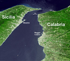Strait of Messina Bridge - The bridge would connect north Messina with Villa San Giovanni (based on NASA photo 2002)