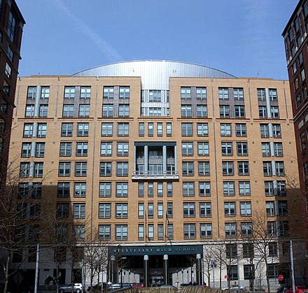 Stuyvesant High School from North End Avenue Stuy HS sunny jeh.JPG