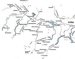 На карті-схемі басейну річки сумки