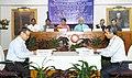 Suresh Prabhakar Prabhu, the Union Minister for Tribal Affairs, Shri Jual Oram, the Minister of State for Railways, Shri Manoj Sinha and the Minister of State (IC) Department of Commerce & Transport, Odisha.jpg