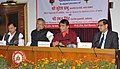 Suresh Prabhakar Prabhu addressing at the signing ceremony of an MoU between Ministry of Railways and State Government of Chhattisgarh for formation of JV Company, in New Delhi. The Chief Minister of Chhattisgarh.jpg