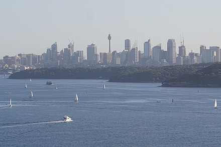 Sailing on Sydney Harbour SydneySkyline2.jpg