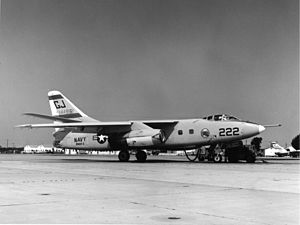 Naval Air Station Sanford - TA-3B Skywarrior, BuNo 144861, of RVAH-3 on the NAS Sanford southwest ramp, starting engines for a training sortie, circa 1967.  RA-5C Vigilante, BuNo 151617, of RVAH-3 is visible in background.