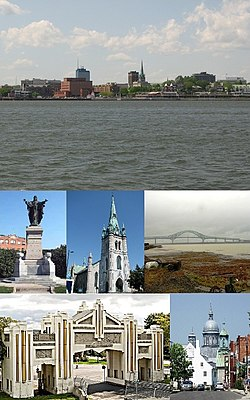 From top left: Downtown seen from the St. Lawrence River, monument to Sacré-Coeur, Trois-Rivières Cathedral, Laviolette Bridge, Pacifique Du Plessis door, Ursulines monastery