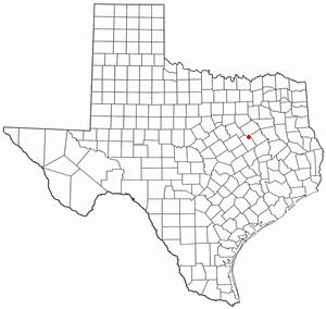 Tehuacana, Texas - Image: TX Map doton Tehuacana