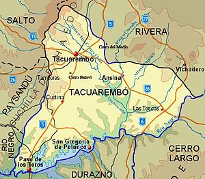Tacuarembó Department - Topographic map of Tacuarembó Department showing main populated places and roads