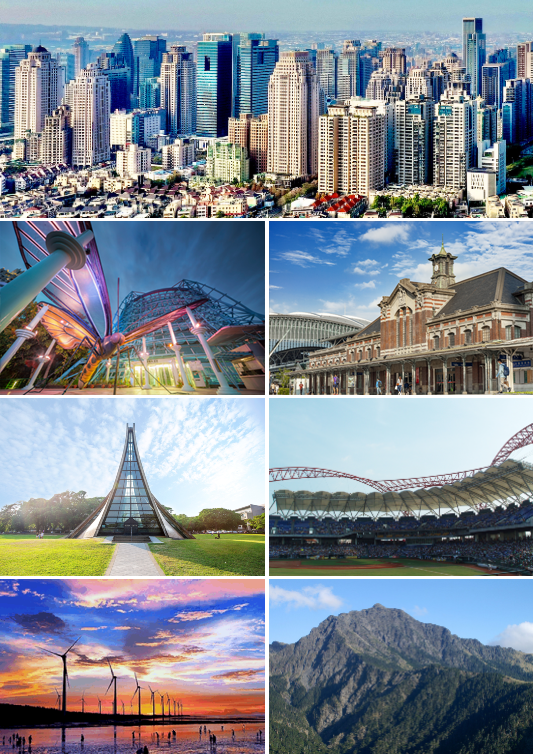 Clockwise from top: Taichung skyline, Taichung railway station, Taichung Intercontinental Baseball Stadium, Nanhu Mountain, Wind farm in Taichung, Luce Memorial Chapel, National Museum of Natural Science
