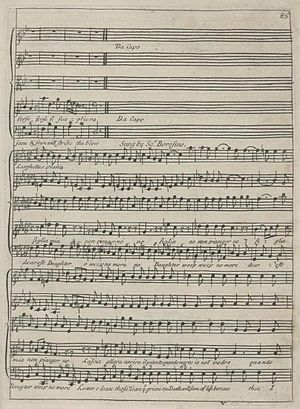 Aria - The farewell aria of Sultan Bazajet in Handel's opera Tamerlano. (Note the da capo instruction). First edition, London, 1719.