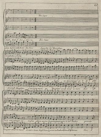 Aria - The farewell aria of Sultan Bazajet in Handel's opera Tamerlano. (Note the da capo instruction.) First edition, London, 1719.