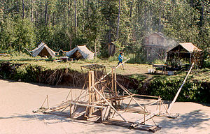 Tanana Athabaskans - Fish wheel into the Tanana River (Tth'itu') and Lower Tanana fish camp, 1997