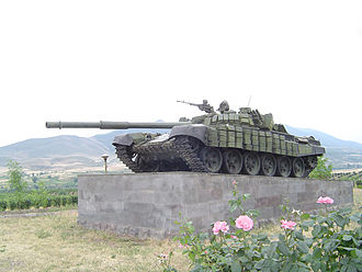 T-72 - Memorial of a T-72 with ERA in Askeran, Azerbaijan. The tank was advancing on Azerbaijani positions in Askeran when it hit a mine and its Armenian crew was killed in the resulting explosion. The tank was restored after the war.