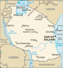 Mapa  República Unida da Tanzânia