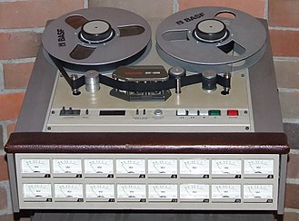 Multitrack recording - The TASCAM 85 16B analog tape recorder can record 16 tracks of audio on 1-inch (2.54cm) tape. Professional analog units of 24 tracks on 2-inch tape were common, with specialty tape heads providing 16 or even 8 tracks on the same tape width, for greater fidelity.