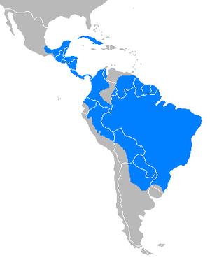 White-lipped peccary - Image: Tayassu pecari distribution map