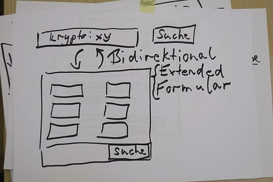 Paper sketch of bi-directional synchronisation between the normal search field and the advanced search interface