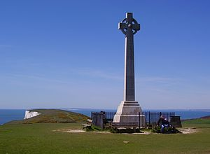 Tennyson Down - The Tennyson Monument on Tennyson Down, with the Dorset coastline in the distance