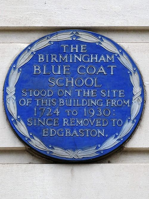 The birmingham blue coat school stood on the site of this building from 1724 to 1930 since removed to edgbaston