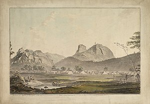 Second Anglo-Mysore War - The British Army encamped below the rock of Sholingarh