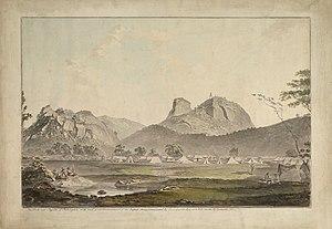 Battle of Sholinghur - 1781 watercolor showing British Army encamped at Sholinghur