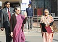 The Chairperson, National Advisory Council, Smt. Sonia Gandhi and the Chief Minister of Delhi, Smt. Sheila Dikshit after casting their votes in Delhi Assembly Election, at Nirman Bhavan polling booth, in New Delhi.jpg