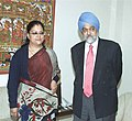 The Chief Minister of Rajasthan, Smt. Vasundhara Raje Scindia meeting with the Deputy Chairman, Planning Commission, Shri Montek Singh Ahluwalia to finalize Annual Plan 2006-07 of the State, in New Delhi on January 12, 2006 (1).jpg