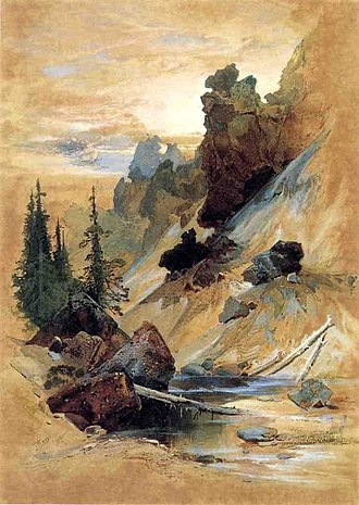 Hayden Geological Survey of 1871 - Thomas Moran, a guest artist on the expedition, painted The Devil's Den on Cascade Creek.