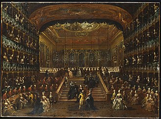 Teatro San Benedetto - Francesco Guardi. The Dinner and Ball in honour of Count and Countess De Nord. Teatro San Benedetto, 22nd January 1782