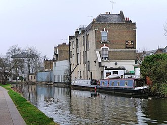 The Flora - The rear of The Flora, seen from the Grand Union Canal.