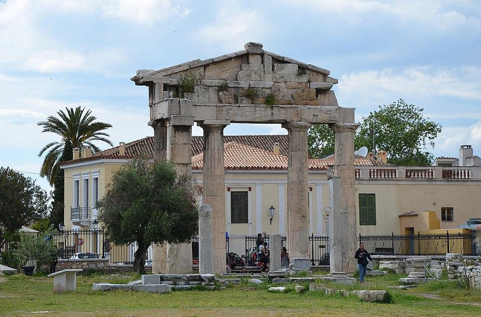 The Gate of Athena Archegetis, the main entrance to the Roman Market, Roman Agora, Athens, Greece (21766530986)