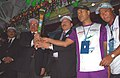 The Governor of Sikkim, Shri B.P. Singh and the Chief Minister of Sikkim, Shri Pawan Kumar Chamling with the Queen`s Baton 2010 Delhi, at Paljor Stadium, Gangtok on July 16, 2010.jpg
