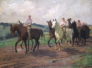 Lucy Kemp-Welch - The Ladies' Army Remount Dep't, Russley Park, Wiltshire, (1918) (Art.IWM ART 3094)