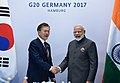 The Prime Minister, Shri Narendra Modi in bilateral meeting with the President of South Korea, Mr. Moon Jae-in, on the sidelines of the 12th G-20 Summit, at Hamburg, Germany on July 08, 2017.jpg