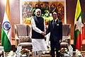 The Prime Minister, Shri Narendra Modi meeting the President of Myanmar, Mr. Win Myint, on the sidelines of the 4th BIMSTEC Summit, in Kathmandu, Nepal on August 31, 2018.JPG