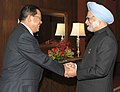The Prime Minister of Cambodia, Mr. Hun Sen being welcomed by the Prime Minister, Dr. Manmohan Singh, at the ASEAN-India Commemorative Summit, 2012, in New Delhi on December 20, 2012.jpg