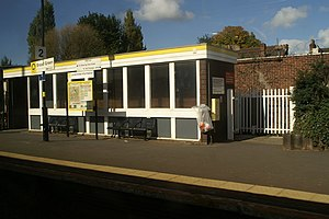Broad Green railway station - Image: The Waiting Room at Broad Green Station geograph.org.uk 1527335