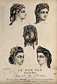 The heads of five women with braided and ringletted hair dre Wellcome V0019880EL.jpg